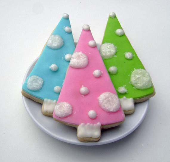 Vintage Christmas Cookies  Retro Christmas Tree Sugar Cookies Pink by pfconfections