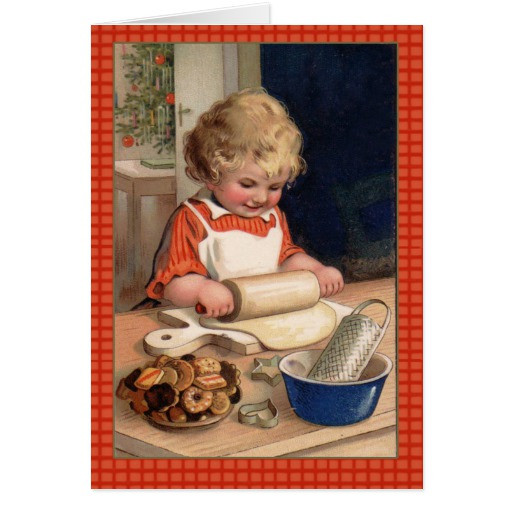 Vintage Christmas Cookies  Vintage Illustration Girl Baking Christmas Cookies Card