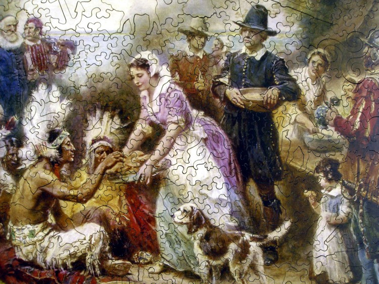 Was There Turkey At The First Thanksgiving  The First Thanksgiving 1621 Wooden Jigsaw Puzzle