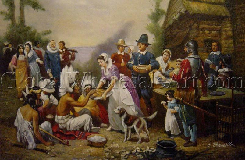 Was There Turkey At The First Thanksgiving  Jean Leon Gerome Ferris The First Thanksgiving Oil
