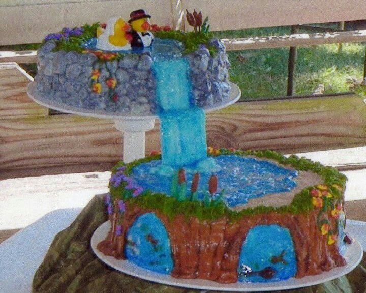 Waterfalls Wedding Cakes  Waterfall wedding cake no fondant the fish are fruit