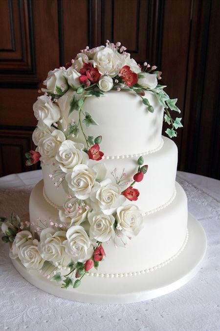 Waterfalls Wedding Cakes  Emily Wedding Cake decorated with a waterfall of