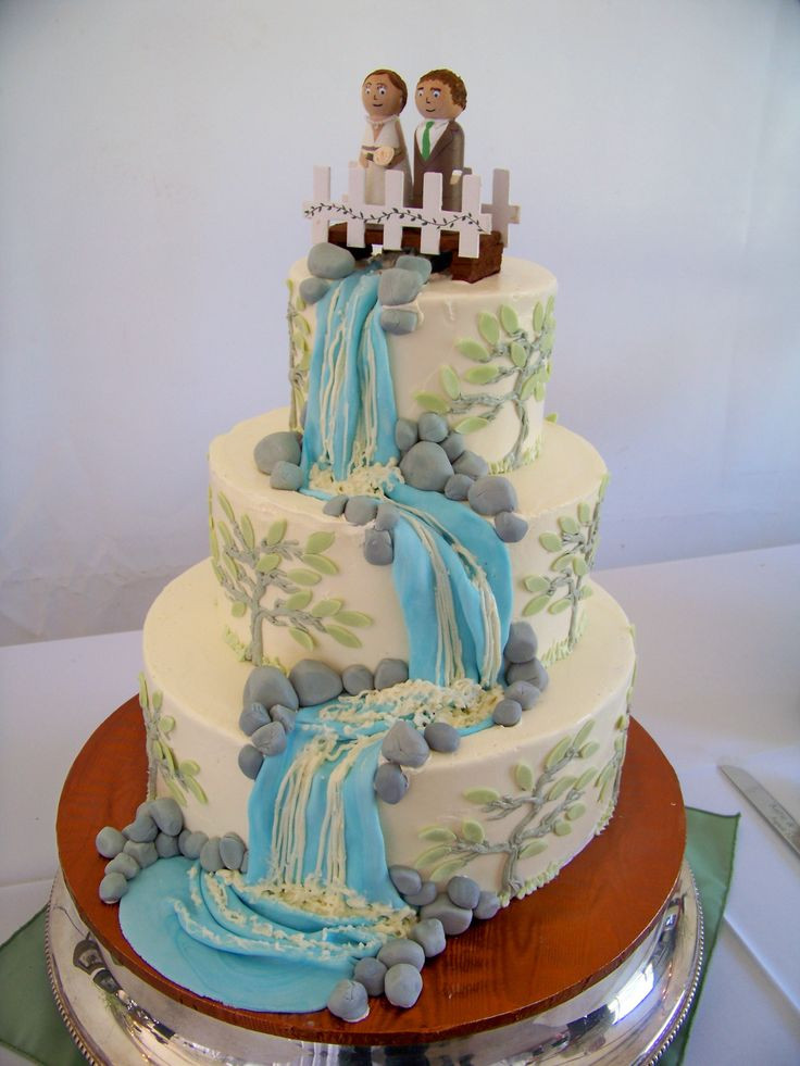 Waterfalls Wedding Cakes  44 best rustic nature waterfall wedding cakes images on