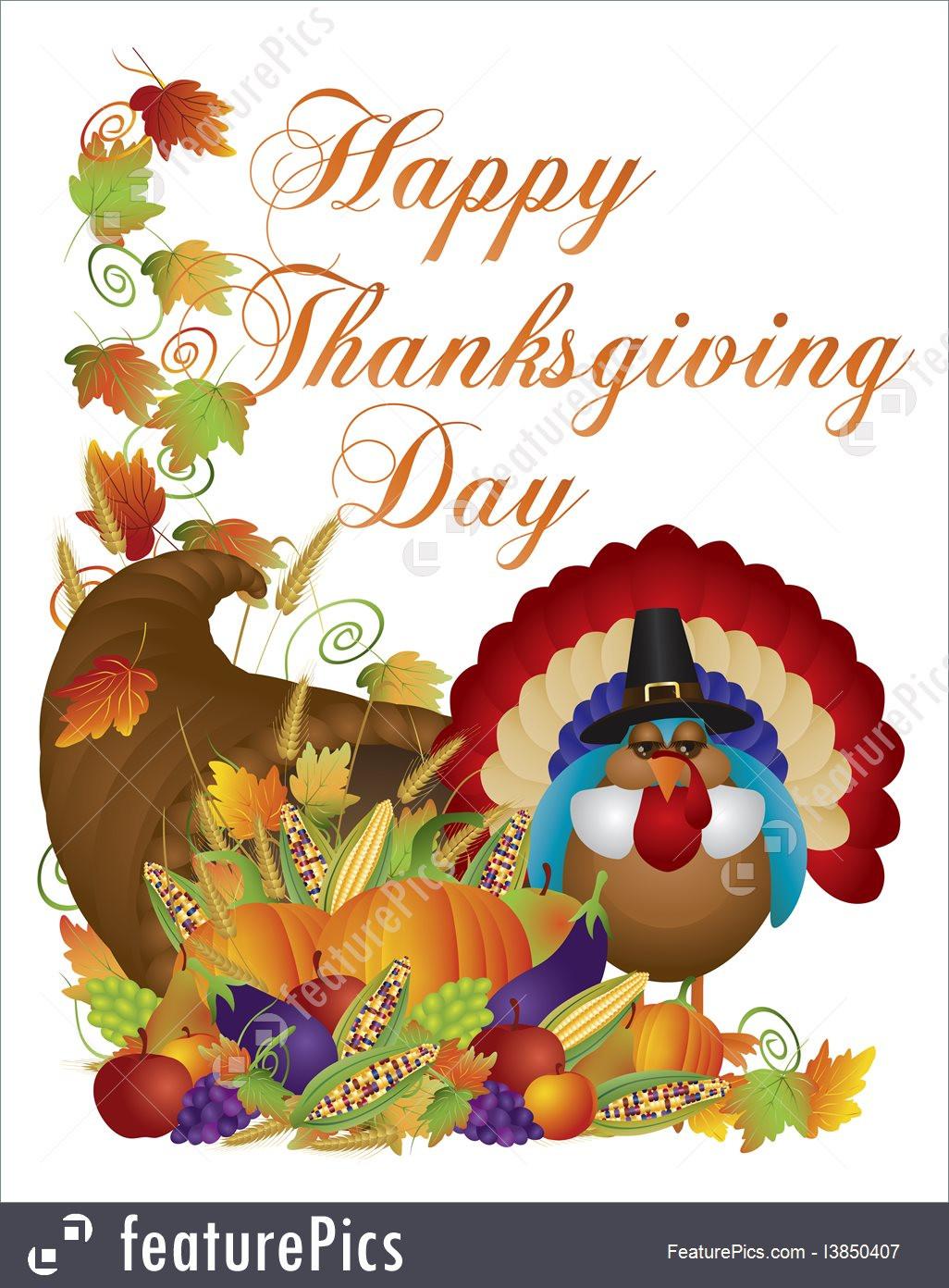 When Should I Buy My Turkey For Thanksgiving  Illustration Happy Thanksgiving Day Cornucopia Turkey