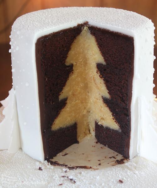 White Christmas Cake  White Christmas Tree Cake